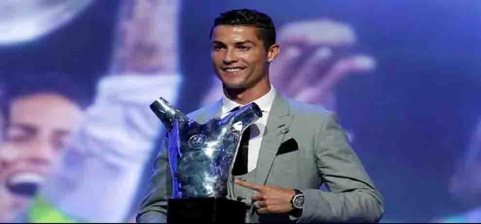 फुटबॉलर क्रिस्टियानो रोनाल्डो को मिला UEFA का 'प्लेयर ऑफ दी ईयर' अवार्ड