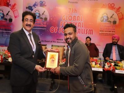 मथुरा ब्रज का लाल गौरव शर्मा को मिला ICMEI के प्रेसिडेंट संदीप मारवाह द्वारा ग्लोबल फेस्टिवल ऑफ जर्नलिज्म' मीडिया अवार्ड