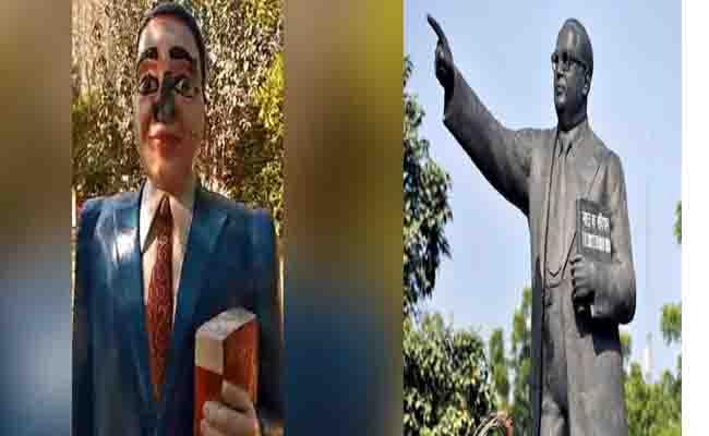सख्ती के बाद भी असामाजिक तत्व पर  ग्रेटर नोएडा में अंबेडकर की मूर्ति तोड़ी गई