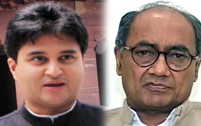 भोपाल : राहुल गांधी के सामने ही भिड़े सिंधिया और दिग्विजय सिंह