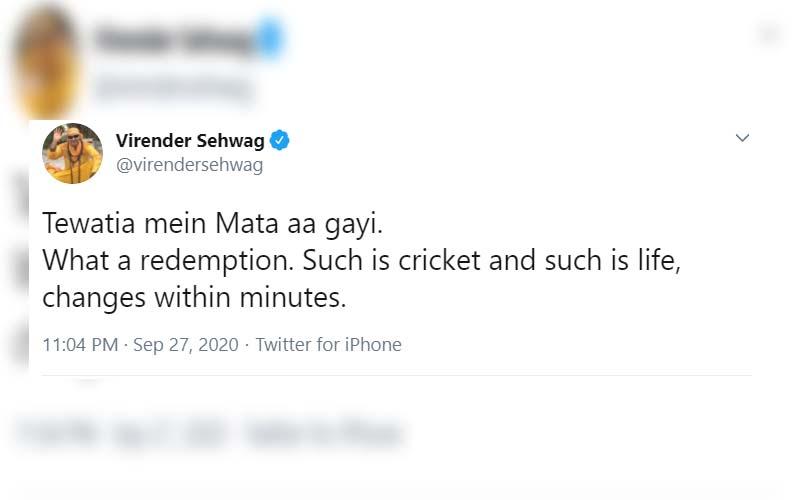 IPL 2020: एक ओवर में तेवतिया के 5 छक्के देख बोले वीरू, कहा- राहुल तेवतिया में माता आ गई